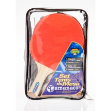 ENP92203 Tennis Table Set: 4 Rackets, Net, Pot & 3 Balls